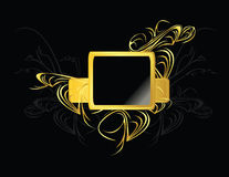 Gold black square element. Gold and black design frame element on a black background stock illustration