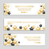 Gold Black star banner background. Gold black star background, banners. Golden banner. Gold banner with text. Super Sale, awards, web, card, vip exclusive Stock Image