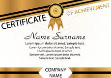 Gold and black template certificate of achievement. Elegant back. Ground. Winning the competition. Reward. Vector illustration Stock Photos