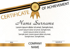 Gold and black template certificate of achievement. Elegant back. Ground. Winning the competition. Reward. Vector illustration Royalty Free Stock Images