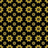Gold on black with two different sized stars with squares and circles seamless repeat pattern background. Two colour of two different sized stars with squares Stock Photo