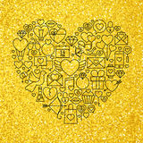 Gold and Black Valentine's Day Line Icons Set Heart Shape Royalty Free Stock Photography