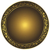 Gold and black vintage round pattern. Gold and black vintage round isolated frame with rays over white, vector Royalty Free Stock Photos