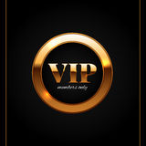 Gold and black vip label shiny vector illustration Royalty Free Stock Images