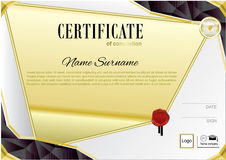 Gold black white certificate with wafer. Black triangle design elements. Royalty Free Stock Photos
