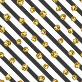 Gold on black and white stripe seamless pattern Stock Photography