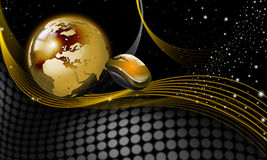 Gold and black word background. Background with golden globe and mouse, starry sky and shades Stock Images