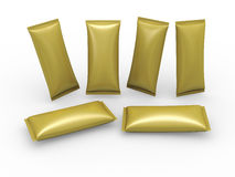 Gold blank flow wrap packet with clipping path Royalty Free Stock Images