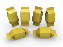 Gold blank package for square shape product Stock Photo