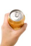 Gold blank soda can Royalty Free Stock Photos