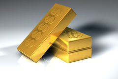 Gold blocks. Stacked on top of eachother Stock Images