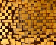 Gold Blocks. Background texture gold blocks. Different levels. 3d illustration Royalty Free Stock Image