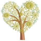 Gold blooming tree, floral background, floral ornament. Vector illustration stock illustration
