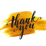 Gold blot backgrount and words thank you. Vector Royalty Free Stock Photography