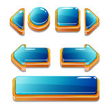 Gold and blu buttons for game or web design Royalty Free Stock Photography