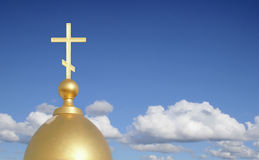 Gold on blue. Dome of orthodox church on a background of the sky Stock Images