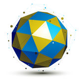 Gold and blue abstract technological 3D vector object, colorful Royalty Free Stock Photo