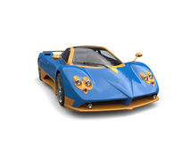 Gold blue amazing race car Royalty Free Stock Images