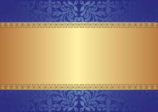 Gold blue background. With ornaments Royalty Free Stock Photography