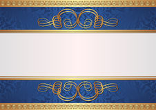 Gold and blue background. With ornaments Royalty Free Stock Images