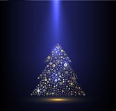 Gold and blue background with Christmas tree Royalty Free Stock Photography