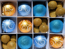 Gold and Blue Baubles Royalty Free Stock Image