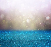 Gold and blue boke lights or defocused lights background. Gold and blue boke lights or defocused lights background stock images