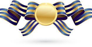 Gold and blue bow with medal. The striped gold and blue ribbon with golden medal Royalty Free Stock Image