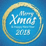 2018, Gold and blue card with Merry Christmas text and glitter frame. Sparkling holiday background, vector dust border Royalty Free Stock Image