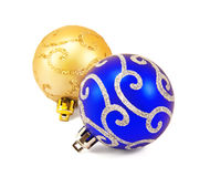 Gold and blue christmas balls Royalty Free Stock Images