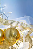 Gold and Blue Christmas Baubles Background Stock Photos