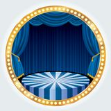Gold blue circle stage Stock Images