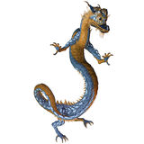 Gold Blue Dragon. A creature of myth and fantasy the dragon is a fierce monster with horns and large teeth stock illustration