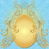 Gold-blue easter vintage frame. Gold-blue easter frame with big gold egg and vintage birds (vector EPS 10 Royalty Free Stock Images