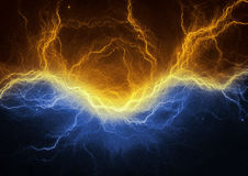 Gold and blue electric lightning Stock Images