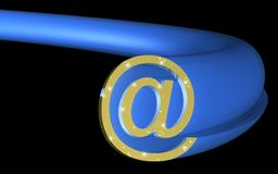 Gold and Blue Email Symbol. Styled in a 3D graphic, a gold metallic email symbol is in front of a 3d blue translucent tube that matches the profile of the email Royalty Free Stock Photography