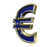 Gold-blue Euro sign with stars isolated on white Royalty Free Stock Photo