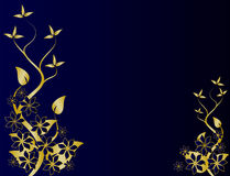 Gold & Blue Floral Background Stock Photo