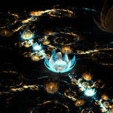 Gold and blue fractal flowers shining in dark Royalty Free Stock Photo