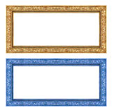 Gold and blue frame isolated on white background , clipping path Stock Photography