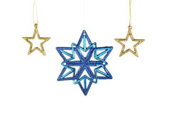 Gold and blue gliter Christmas stars Royalty Free Stock Image
