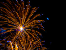 Gold and blue large burst.Spectacular fireworks Royalty Free Stock Photography