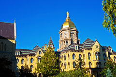 Of Gold and Blue. The main administration building of Notre Dame at Notre Dame University Royalty Free Stock Image