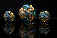 Gold and Blue Marbles royalty free stock image