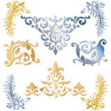 Gold and blue medieval ornaments Stock Images