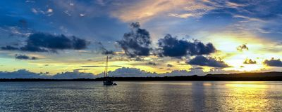 Gold and Blue nautical Sunrise Seascape Australia royalty free stock images