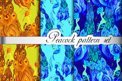Gold blue peacock feathers abstract seamless patterns set, vector illustration Royalty Free Stock Photos