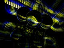 Gold and Blue Plaid Pattern in the Background and Reflected ZThrough the Lensballs royalty free stock photos