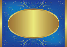 Gold and blue vector card with stars Royalty Free Stock Photography