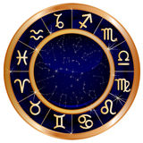 Gold blue zodiac circle Stock Photography